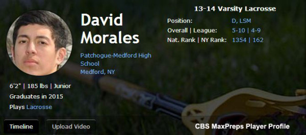 Patchogue-Medford (NY) 2015 D/LSM David Morales makes for late start to lacrosse career
